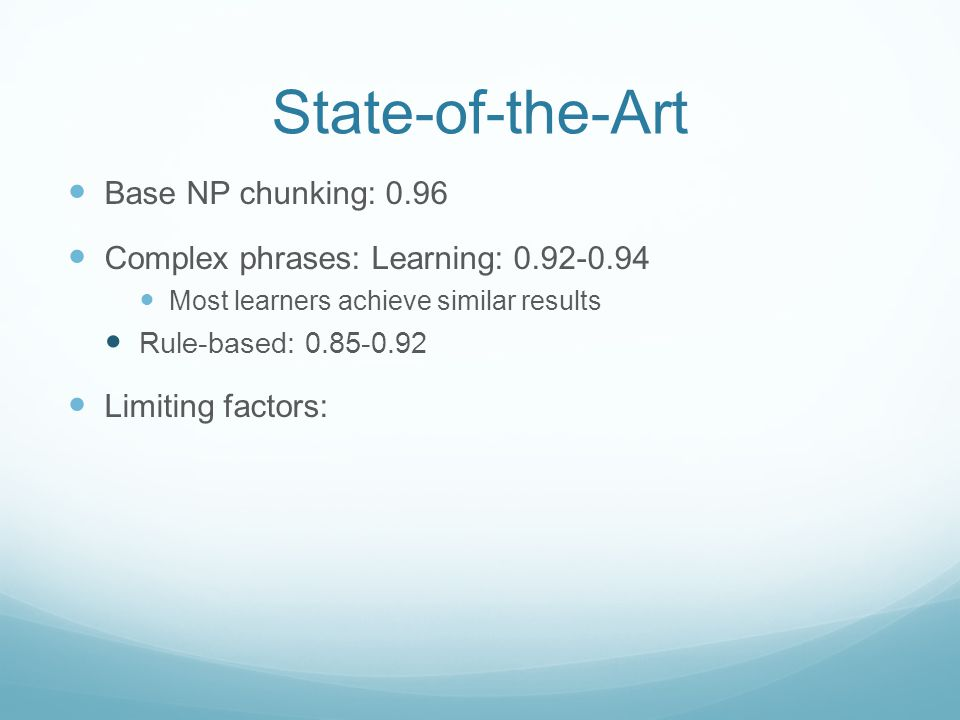 State-of-the-Art Base NP chunking: 0.96 Complex phrases: Learning: 0.92-0.94 Most learners achieve similar results Rule-based: 0.85-0.92 Limiting factors: