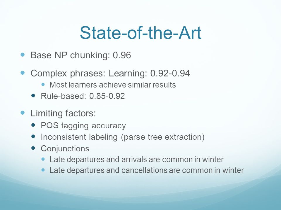 State-of-the-Art Base NP chunking: 0.96 Complex phrases: Learning: 0.92-0.94 Most learners achieve similar results Rule-based: 0.85-0.92 Limiting factors: POS tagging accuracy Inconsistent labeling (parse tree extraction) Conjunctions Late departures and arrivals are common in winter Late departures and cancellations are common in winter