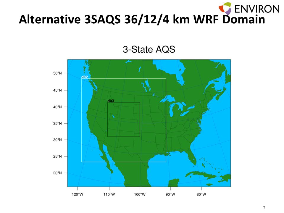 Alternative 3SAQS 36/12/4 km WRF Domain 7