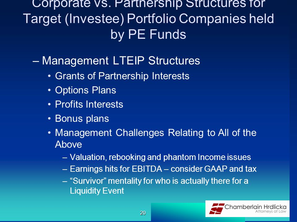 Corporate vs. Partnership Structures for Target (Investee) Portfolio Companies held by PE Funds –Management LTEIP Structures Grants of Partnership Int