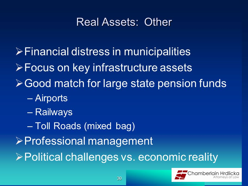 Real Assets: Other  Financial distress in municipalities  Focus on key infrastructure assets  Good match for large state pension funds –Airports –Railways –Toll Roads (mixed bag)  Professional management  Political challenges vs.