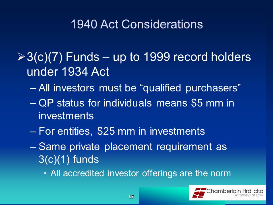 1940 Act Considerations  3(c)(7) Funds – up to 1999 record holders under 1934 Act –All investors must be qualified purchasers –QP status for individuals means $5 mm in investments –For entities, $25 mm in investments –Same private placement requirement as 3(c)(1) funds All accredited investor offerings are the norm 67
