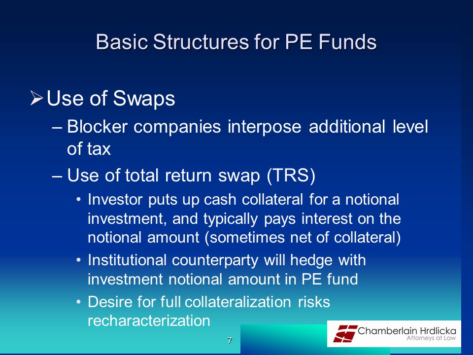 Basic Structures for PE Funds  Use of Swaps –Blocker companies interpose additional level of tax –Use of total return swap (TRS) Investor puts up cas