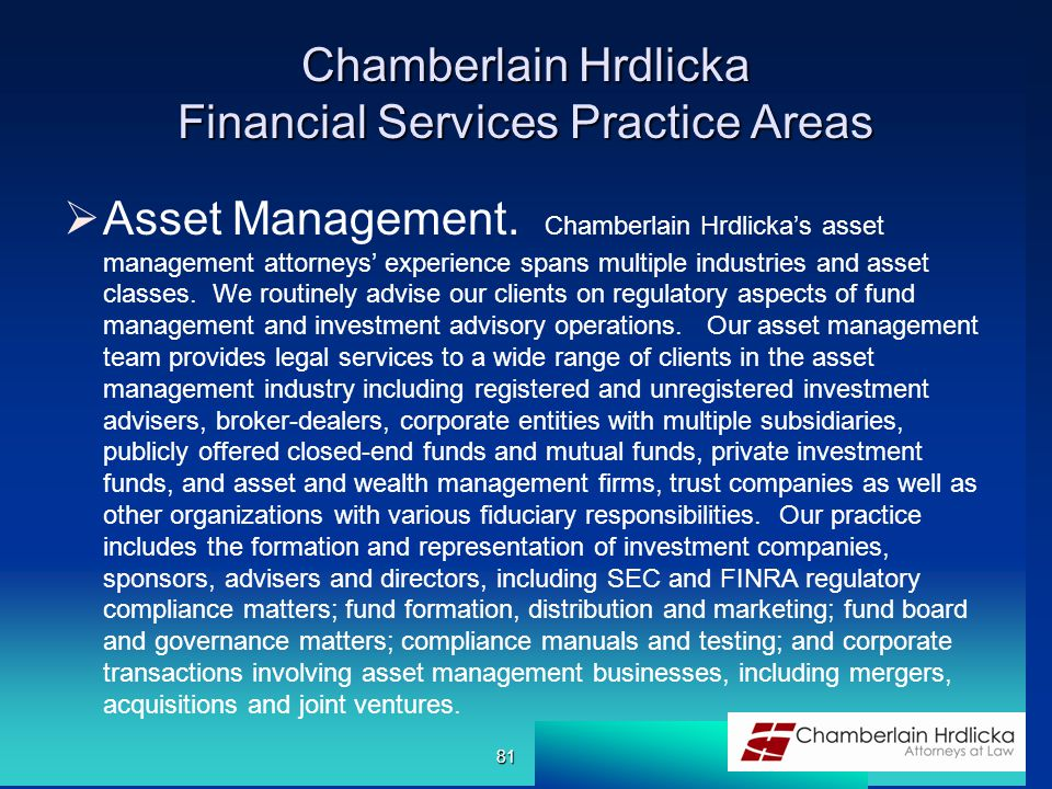 Chamberlain Hrdlicka Financial Services Practice Areas  Asset Management.