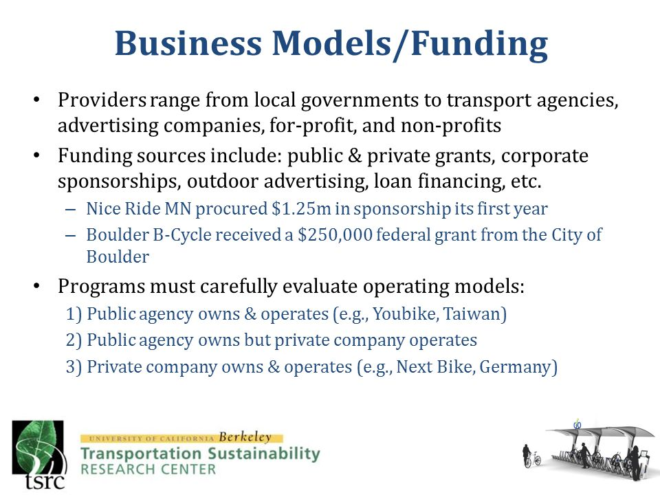 Providers range from local governments to transport agencies, advertising companies, for-profit, and non-profits Funding sources include: public & private grants, corporate sponsorships, outdoor advertising, loan financing, etc.