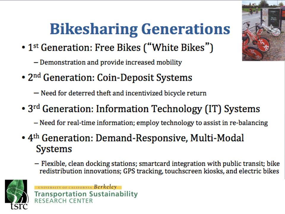 Bicycles In general, programs use bicycles with 3-gears and adjustable seat height B-Cycle bikes are equipped with baskets BIXI bikes are equipped with a rack and a bungee cord Capital Bikeshare BIXI MontrealNice Ride MN Hubway DecoBike Denver B-Cycle