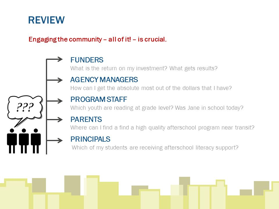 REVIEW Engaging the community – all of it. – is crucial.