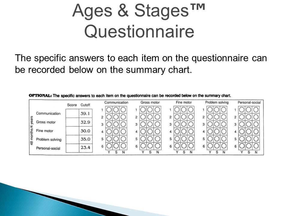 Ages & Stages ™ Questionnaire The specific answers to each item on the questionnaire can be recorded below on the summary chart.