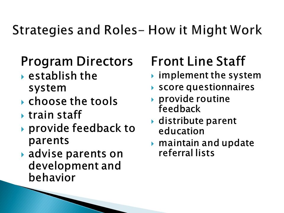 Program Directors  establish the system  choose the tools  train staff  provide feedback to parents  advise parents on development and behavior F