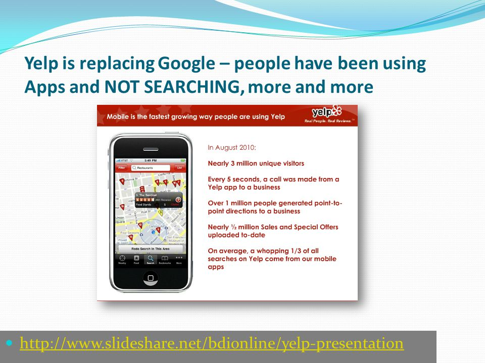 Yelp is replacing Google – people have been using Apps and NOT SEARCHING, more and more http://www.slideshare.net/bdionline/yelp-presentation