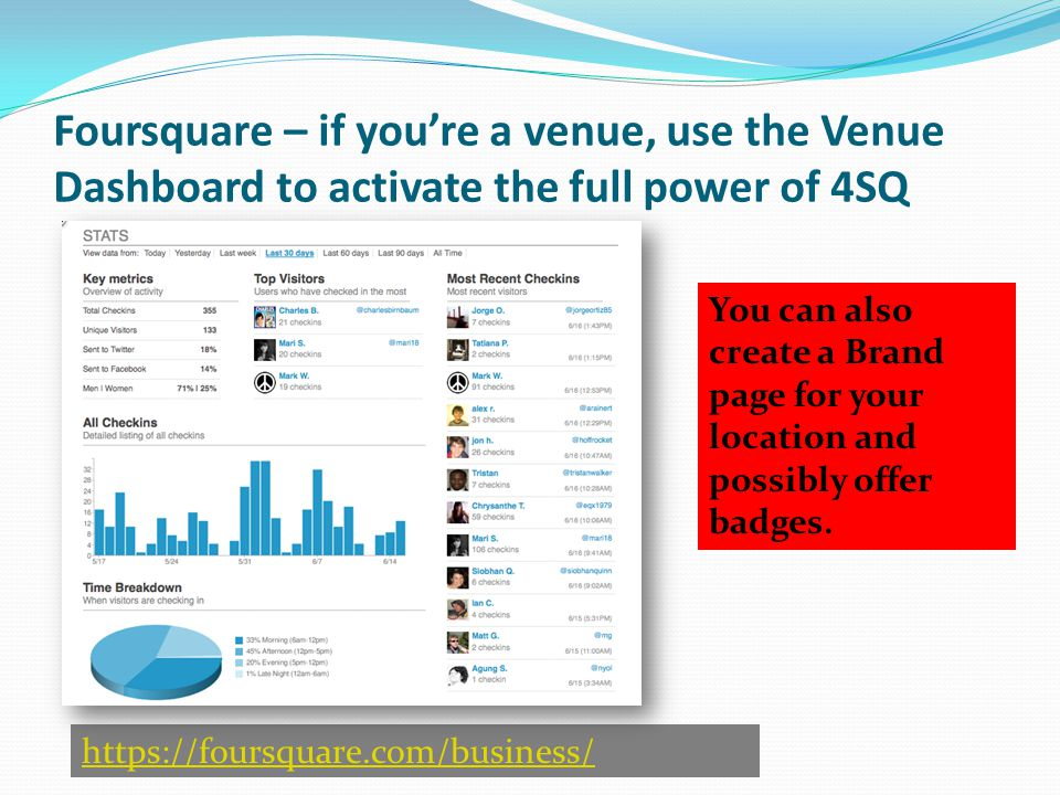 https://foursquare.com/business/ Foursquare – if you're a venue, use the Venue Dashboard to activate the full power of 4SQ You can also create a Brand