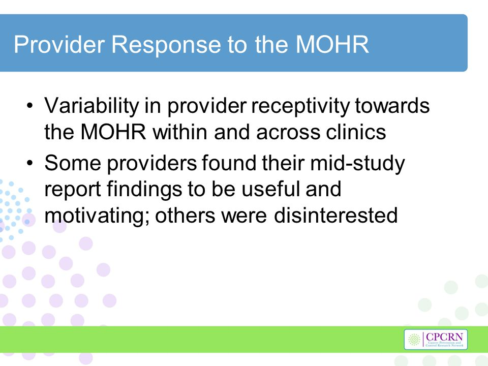 Study Resources Higher level of patient support requires higher level of clinic and/or research team involvement Resources could be allocated at varying levels later in the process according to clinic capacity and patient need