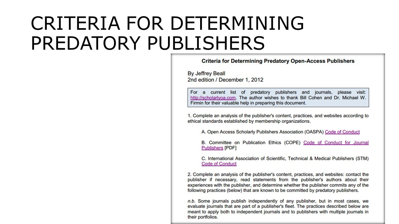 CRITERIA FOR DETERMINING PREDATORY PUBLISHERS