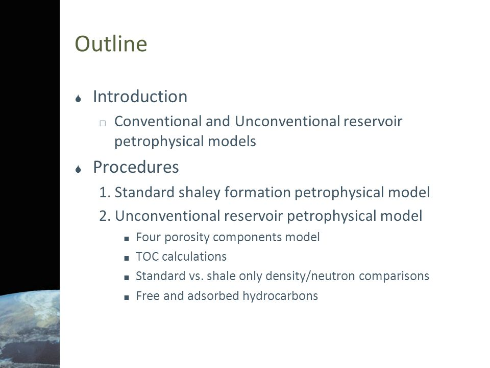 References  Michael Holmes, Antony Holmes, and Dominic Holmes A Petrophysicial Model to Estimate Free Gas in Organic Shales , Presented at the AAPG Annual Convention and Exhibition, Houston Texas, 10-13 April, 2011.