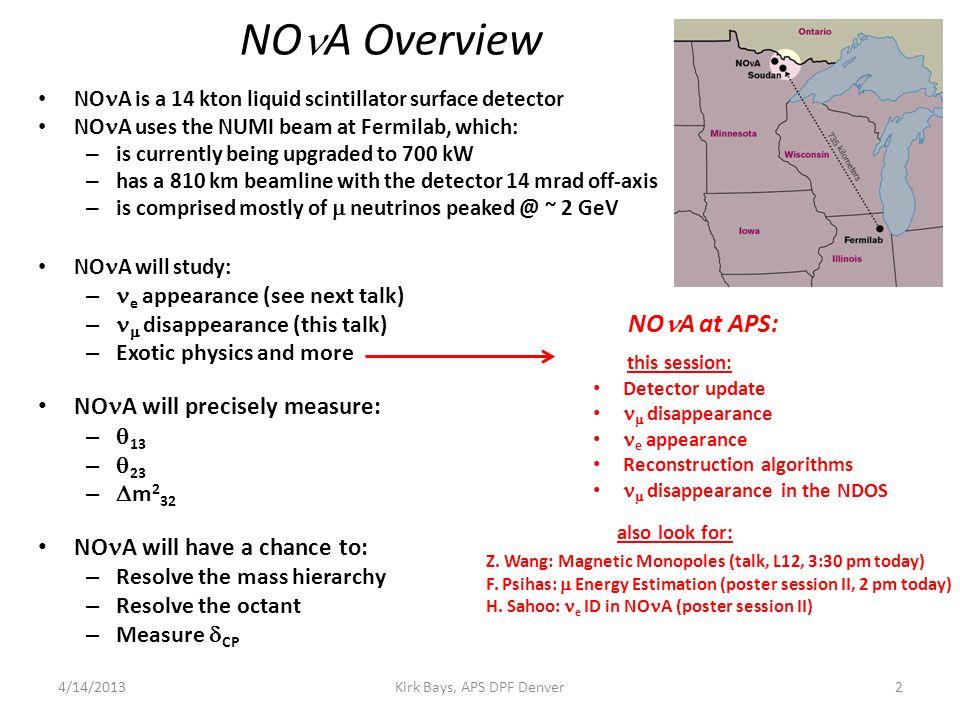  Physics Kirk Bays, APS DPF Denver34/14/2013