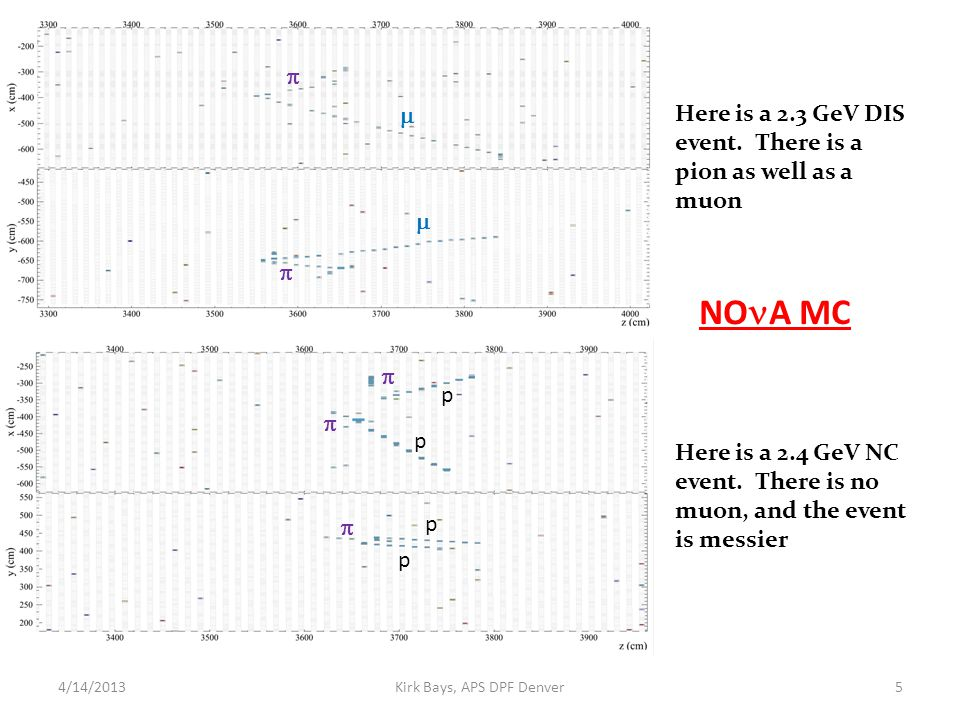 4/14/2013Kirk Bays, APS DPF Denver5 NO A MC Here is a 2.3 GeV DIS event. There is a pion as well as a muon     Here is a 2.4 GeV NC event. There i