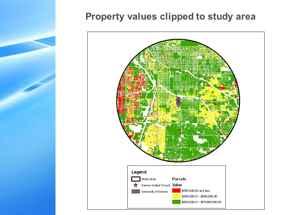 Property values clipped to study area