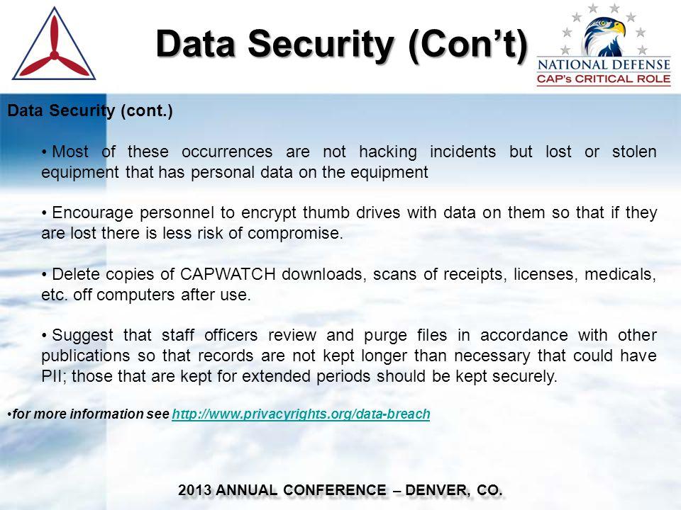 2013 ANNUAL CONFERENCE – DENVER, CO.
