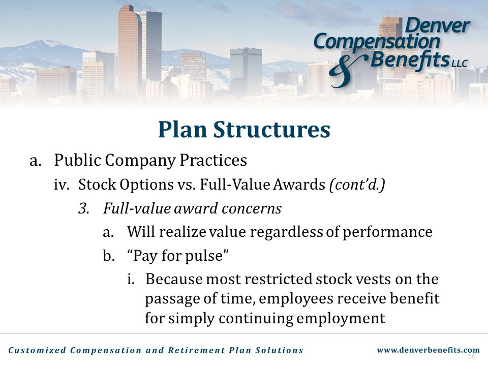 Plan Structures a.Public Company Practices iv.Stock Options vs. Full-Value Awards (cont'd.) 3.Full-value award concerns a.Will realize value regardles