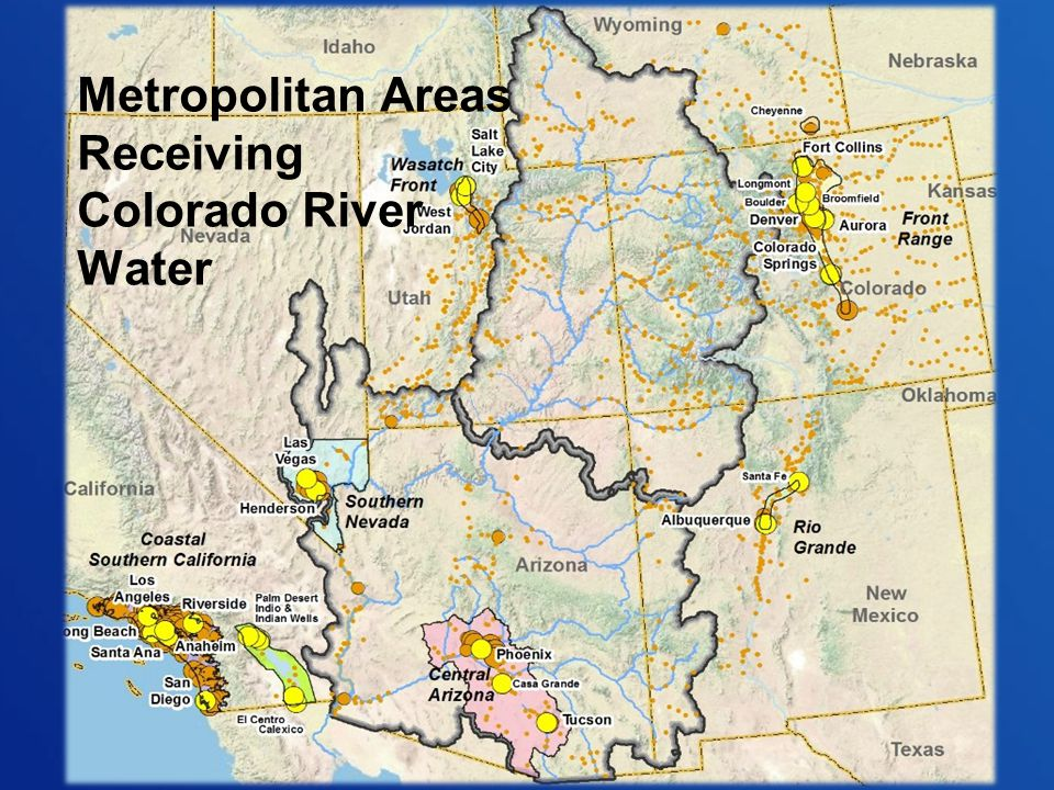 Metropolitan Areas Receiving Colorado River Water