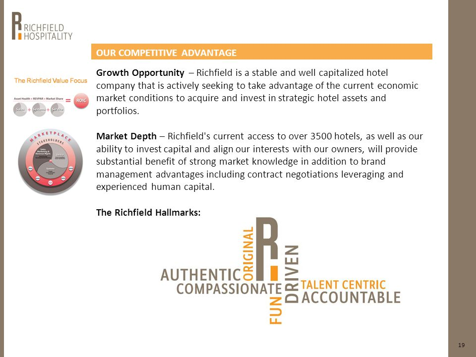 OUR COMPETITIVE ADVANTAGE 19 Growth Opportunity – Richfield is a stable and well capitalized hotel company that is actively seeking to take advantage of the current economic market conditions to acquire and invest in strategic hotel assets and portfolios.