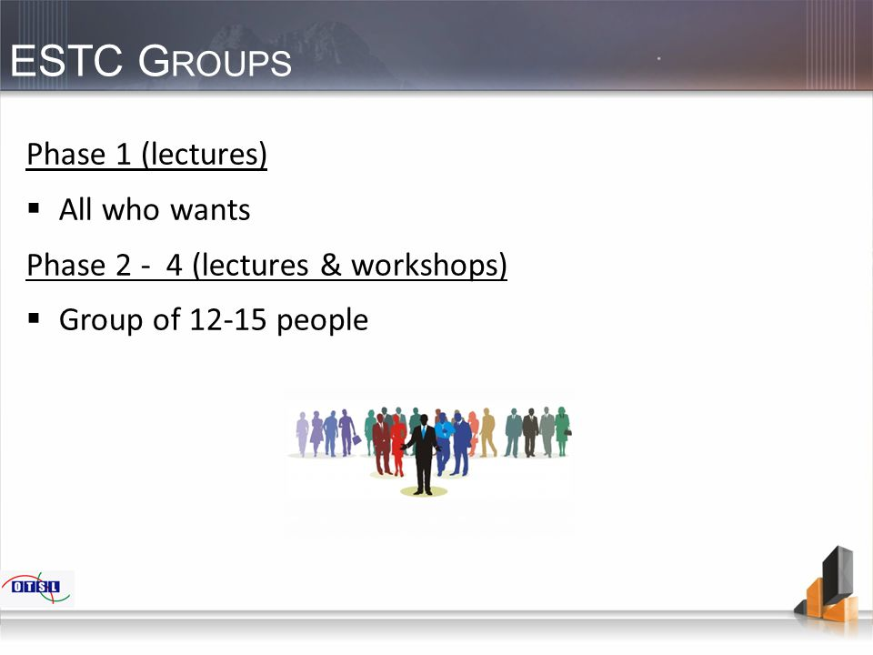 ESTC G ROUPS Phase 1 (lectures)  All who wants Phase 2 - 4 (lectures & workshops)  Group of 12-15 people