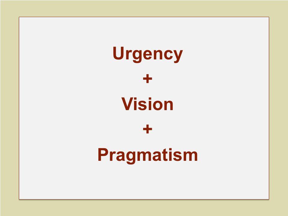Urgency + Vision + Pragmatism