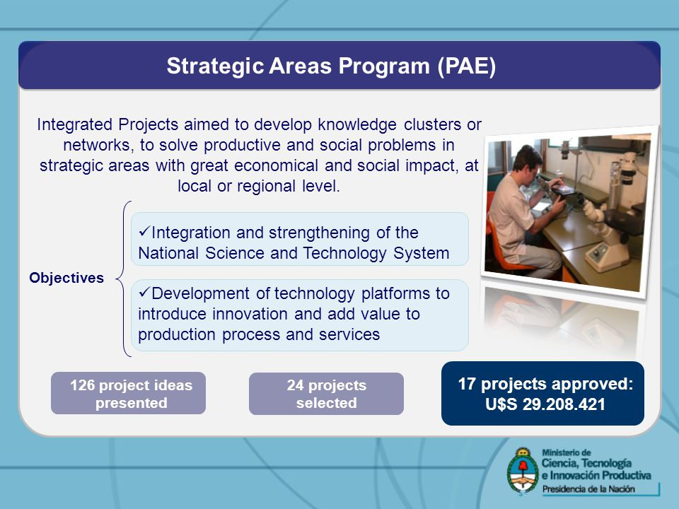 Integrated Projects aimed to develop knowledge clusters or networks, to solve productive and social problems in strategic areas with great economical and social impact, at local or regional level.