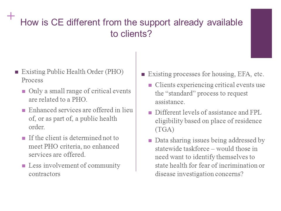 + How is CE different from the support already available to clients.