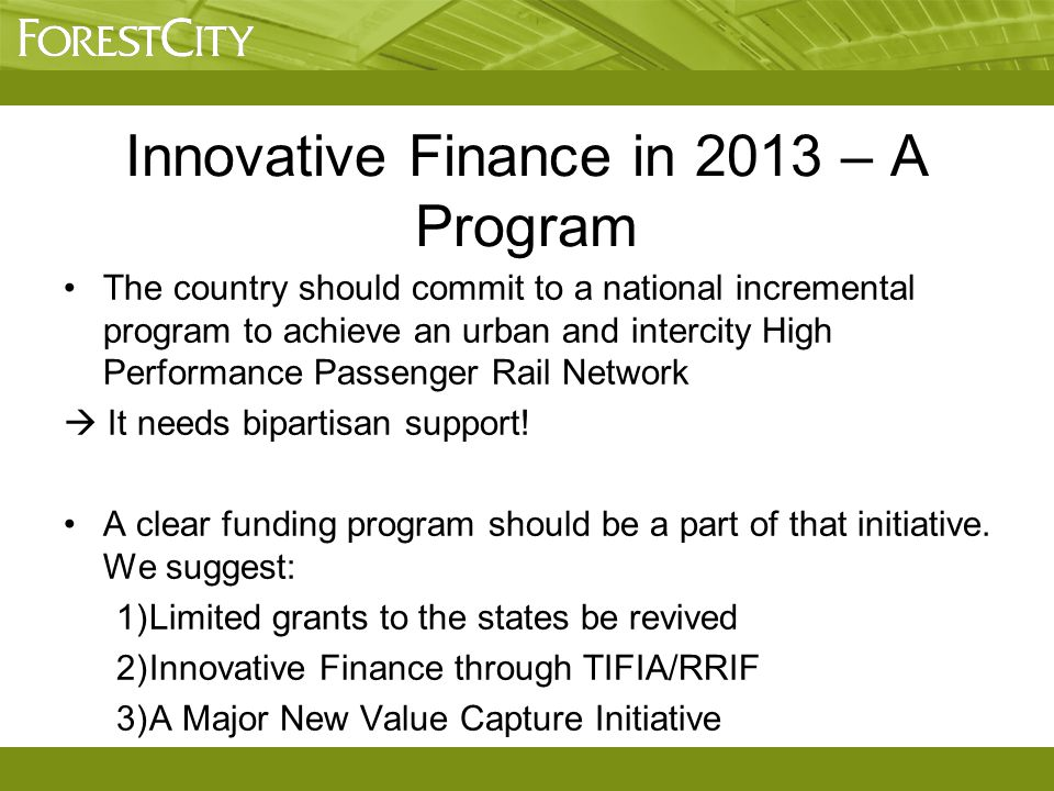 The country should commit to a national incremental program to achieve an urban and intercity High Performance Passenger Rail Network  It needs bipar