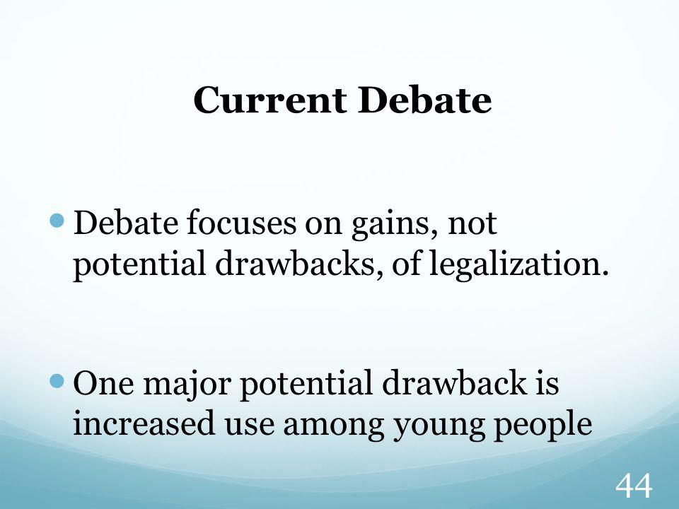 Current Debate Debate focuses on gains, not potential drawbacks, of legalization.