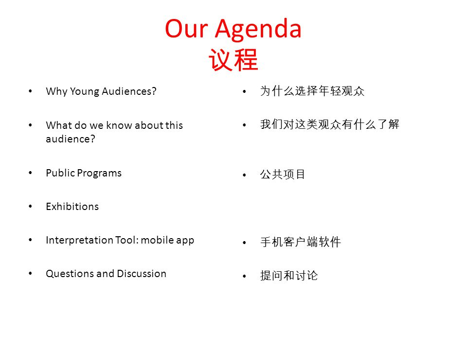 Our Agenda 议程 Why Young Audiences. What do we know about this audience.