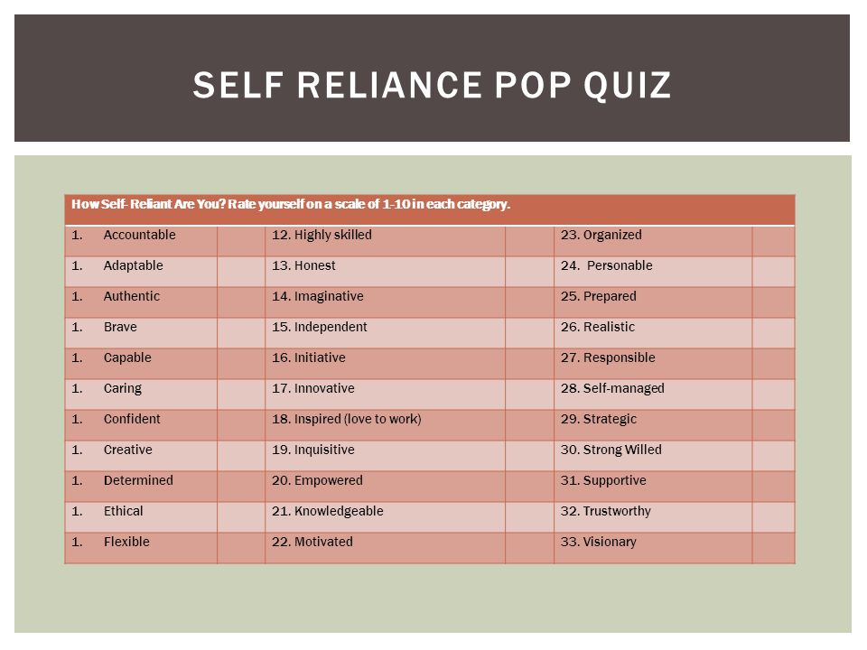 How Self- Reliant Are You. Rate yourself on a scale of 1-10 in each category.