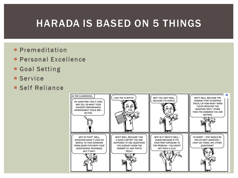  Premeditation  Personal Excellence  Goal Setting  Service  Self Reliance HARADA IS BASED ON 5 THINGS