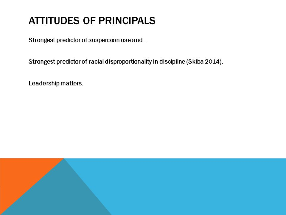ATTITUDES OF PRINCIPALS Strongest predictor of suspension use and… Strongest predictor of racial disproportionality in discipline (Skiba 2014).