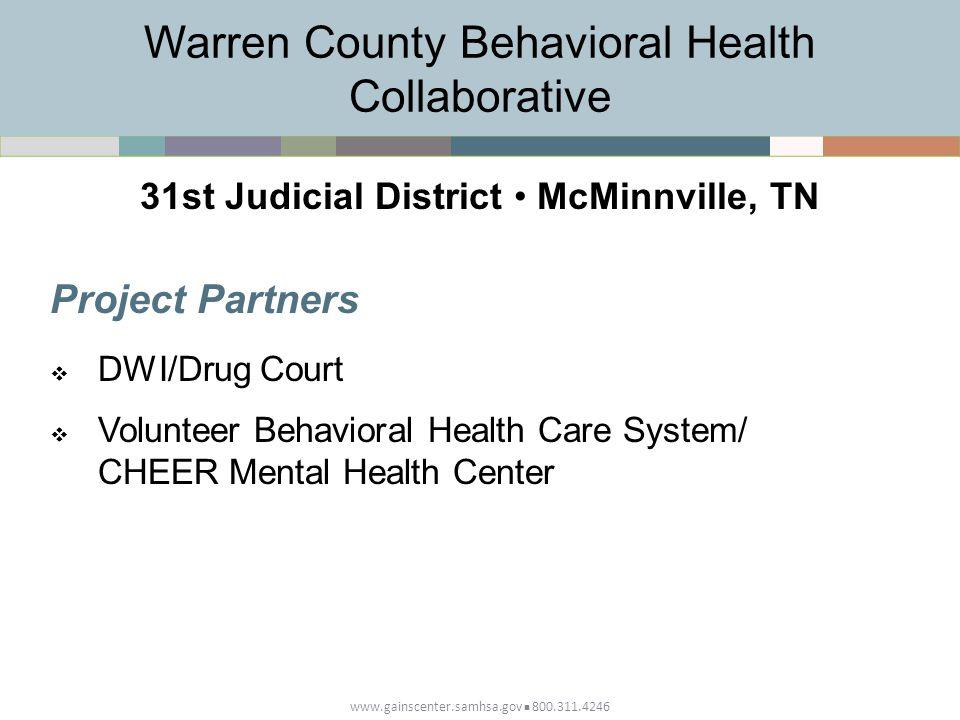 www.gainscenter.samhsa.gov 800.311.4246 Project Partners  DWI/Drug Court  Volunteer Behavioral Health Care System/ CHEER Mental Health Center Warren County Behavioral Health Collaborative 31st Judicial District McMinnville, TN