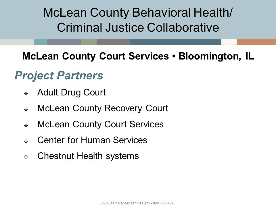 www.gainscenter.samhsa.gov 800.311.4246 Project Partners  Adult Drug Court  McLean County Recovery Court  McLean County Court Services  Center for Human Services  Chestnut Health systems McLean County Behavioral Health/ Criminal Justice Collaborative McLean County Court Services Bloomington, IL