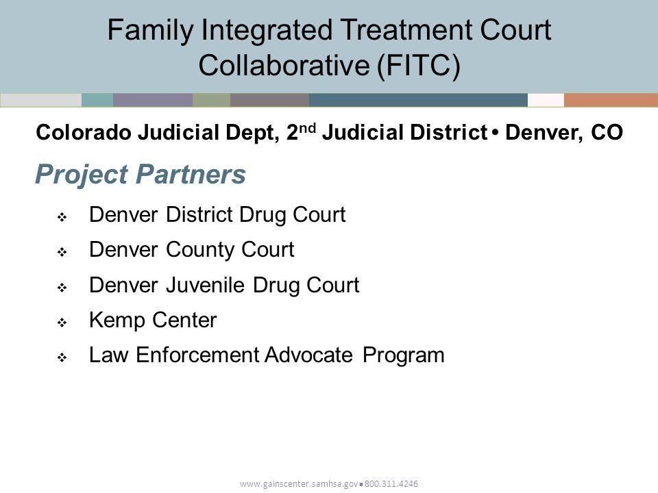 www.gainscenter.samhsa.gov 800.311.4246 Project Partners  Denver District Drug Court  Denver County Court  Denver Juvenile Drug Court  Kemp Center  Law Enforcement Advocate Program Family Integrated Treatment Court Collaborative (FITC) Colorado Judicial Dept, 2 nd Judicial District Denver, CO