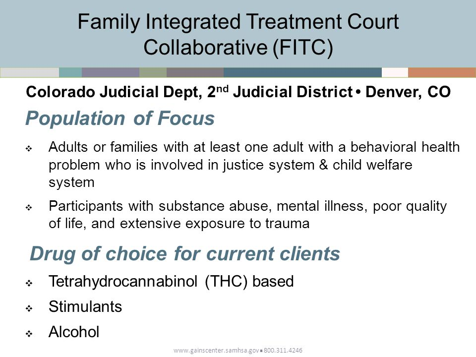 www.gainscenter.samhsa.gov 800.311.4246 Population of Focus  Adults or families with at least one adult with a behavioral health problem who is involved in justice system & child welfare system  Participants with substance abuse, mental illness, poor quality of life, and extensive exposure to trauma Drug of choice for current clients  Tetrahydrocannabinol (THC) based  Stimulants  Alcohol Family Integrated Treatment Court Collaborative (FITC) Colorado Judicial Dept, 2 nd Judicial District Denver, CO