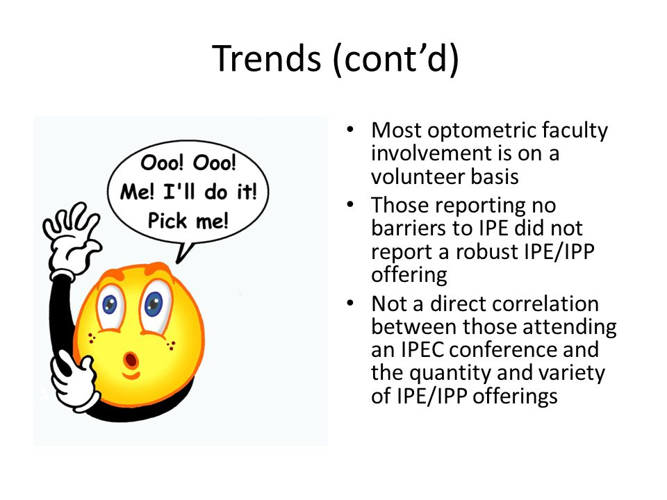 Trends (cont'd) Most optometric faculty involvement is on a volunteer basis Those reporting no barriers to IPE did not report a robust IPE/IPP offerin