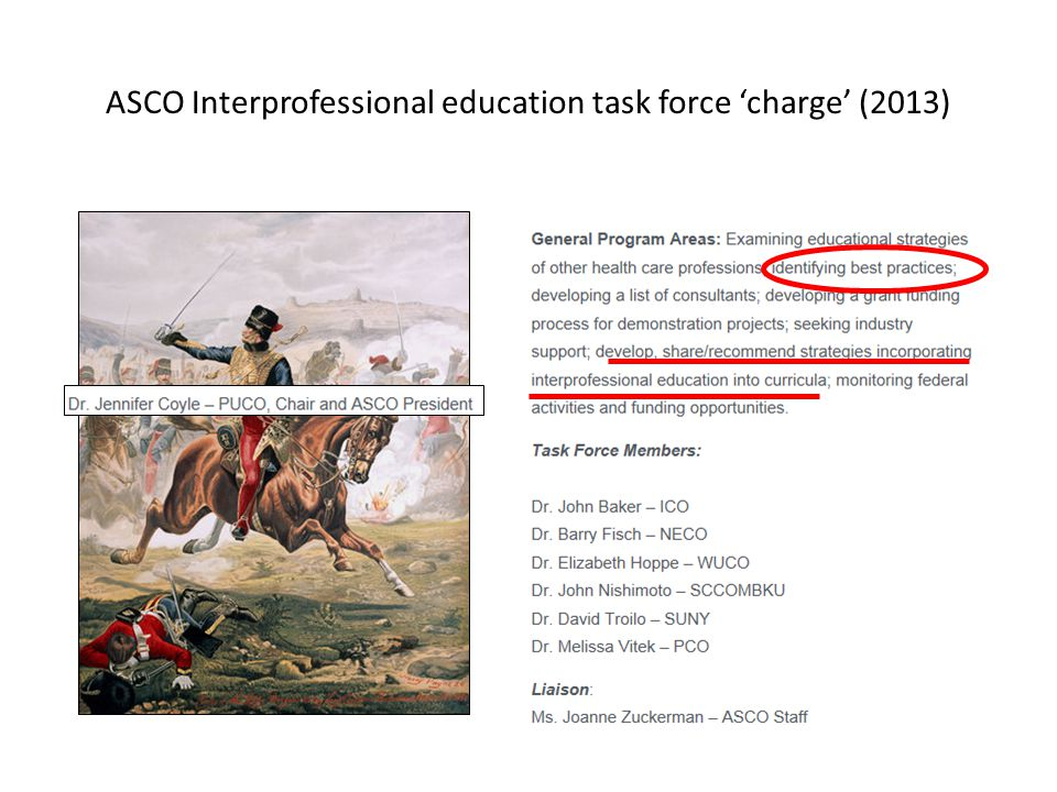 ASCO Interprofessional education task force 'charge' (2013)