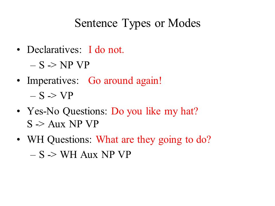 Sentence Types or Modes Declaratives: I do not. –S -> NP VP Imperatives: Go around again.