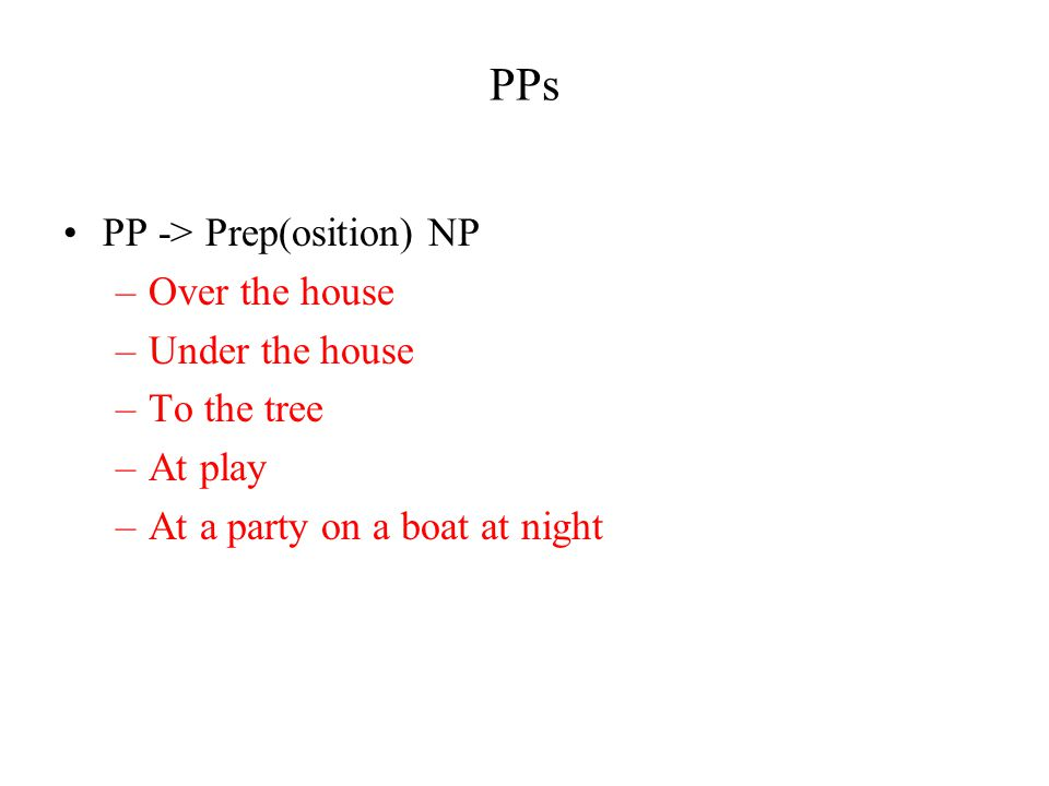 PPs PP -> Prep(osition) NP –Over the house –Under the house –To the tree –At play –At a party on a boat at night
