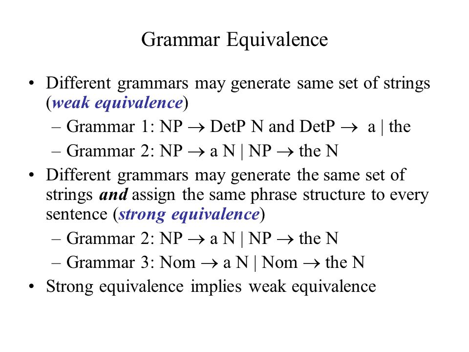 Grammar Equivalence Different grammars may generate same set of strings (weak equivalence) –Grammar 1: NP  DetP N and DetP  a | the –Grammar 2: NP  a N | NP  the N Different grammars may generate the same set of strings and assign the same phrase structure to every sentence (strong equivalence) –Grammar 2: NP  a N | NP  the N –Grammar 3: Nom  a N | Nom  the N Strong equivalence implies weak equivalence