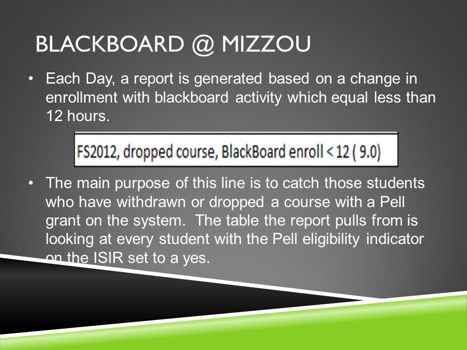 BLACKBOARD @ MIZZOU Each Day, a report is generated based on a change in enrollment with blackboard activity which equal less than 12 hours.