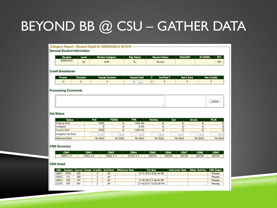 BEYOND BB @ CSU – GATHER DATA