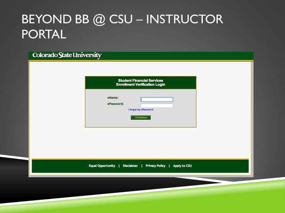 BEYOND BB @ CSU – INSTRUCTOR PORTAL