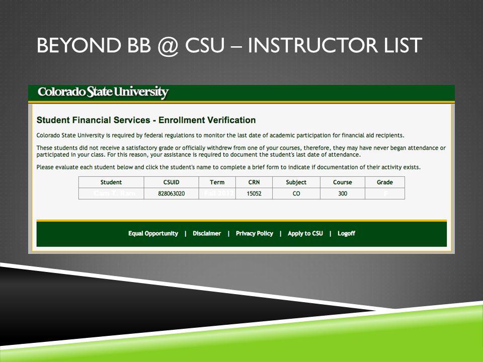 BEYOND BB @ CSU – INSTRUCTOR LIST Cam T. Ram Fall 2012 F
