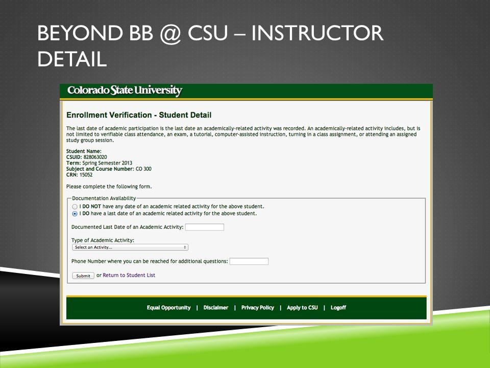 BEYOND BB @ CSU – INSTRUCTOR DETAIL