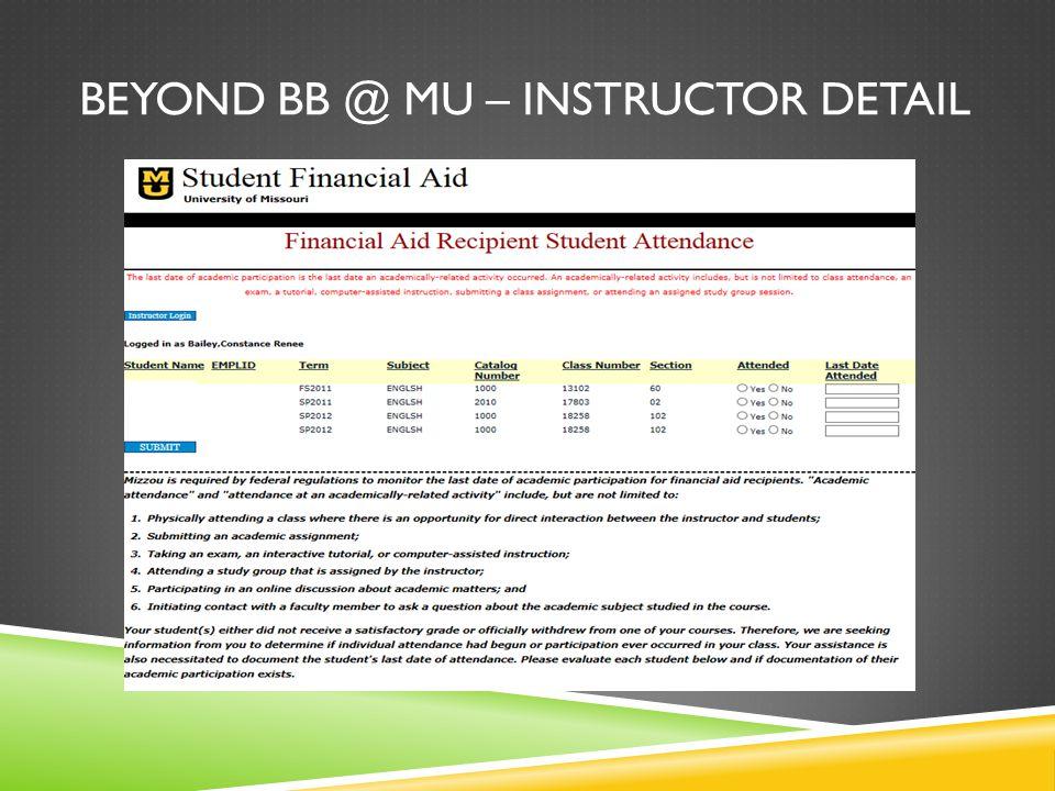 BEYOND BB @ MU – INSTRUCTOR DETAIL